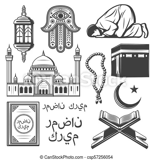 Islam Icon With Religion And Culture Symbol Islam Religion And Culture Symbol Set Muslim Mosque Crescent Moon And Star