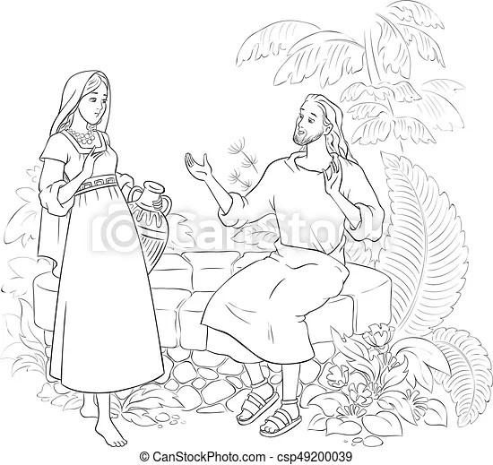 woman at the well coloring page # 8