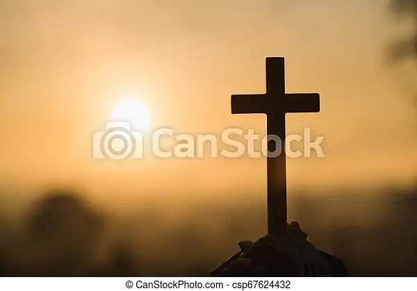 Jesus Christ Cross Easter Resurrection Concept Christian Wooden Cross On A Background With Dramatic Lighting