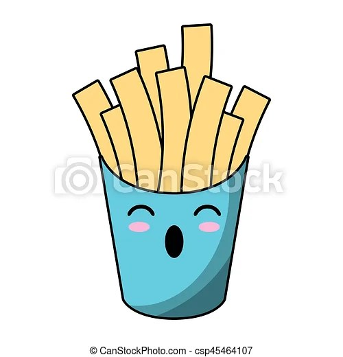 Kawaii French Fries Fast Food Vector Illustration Eps 10 Canstock