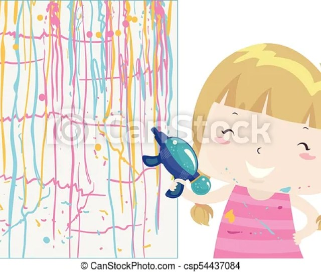 Kid Girl Squirt Gun Painting Illustration