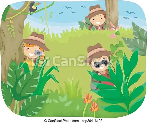 Kids Jungle Adventure Illustration Of Kids On A Jungle