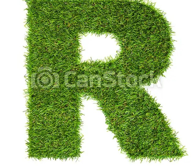 Letter R Made Of Green Grass Isolated On White Csp20504423