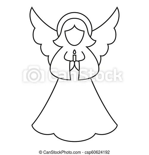 Line Art Black And White Christmas Angel Coloring Book