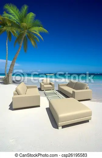 Living Room On The Beach Living Room Furniture With Sofas And Table In The Middle Of A Tropical Beach Canstock