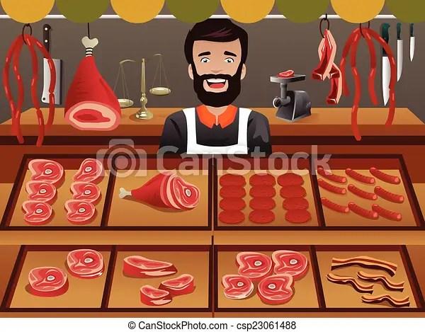 Meat Seller In A Farmer Market A Vector Illustrator Of