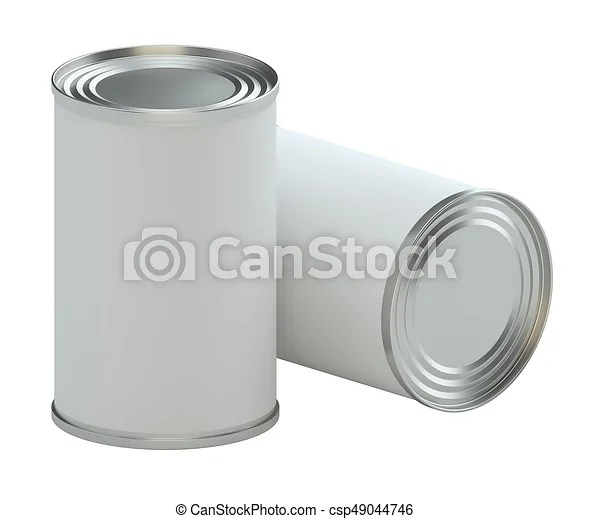 Metal Tin Can With White Paper Label