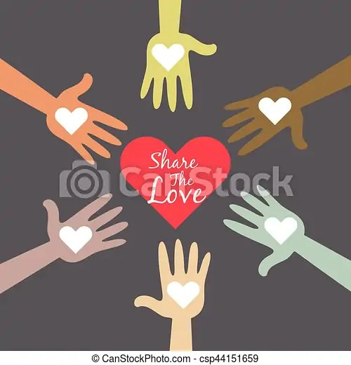 Download Multi colored hands sharing love symbol. Vector stock of ...