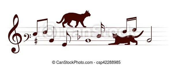 Download Musical notes with cats. Musical notes with domestic cats.