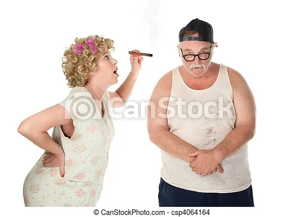 Nagging wife. Bickering wife with cigar confronting husband on white background.
