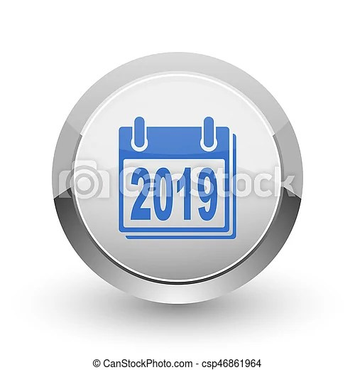 New year 2019 chrome border web and smartphone apps design round     New year 2019 chrome border web and smartphone apps design round glossy  icon
