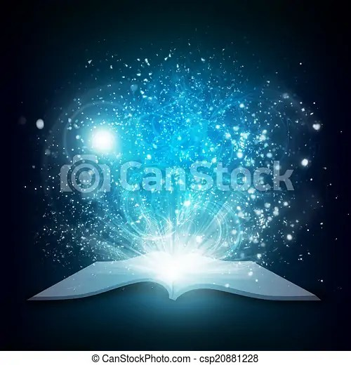 Old Open Book With Magic Light And Falling Stars Dark Clip Art Search Illustration