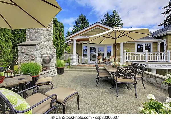 https www canstockphoto com patio area with stone fireplace and 38300607 html