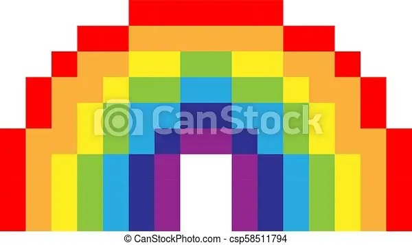 Pixel Art Rainbow Colorful On White Font Canstock