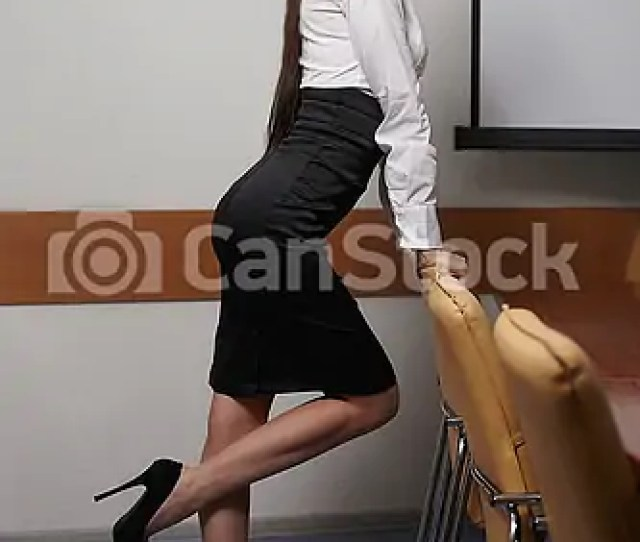 Portrait Of Young Sexy Business Woman In An Office With Glasses Red Lips Csp8589798