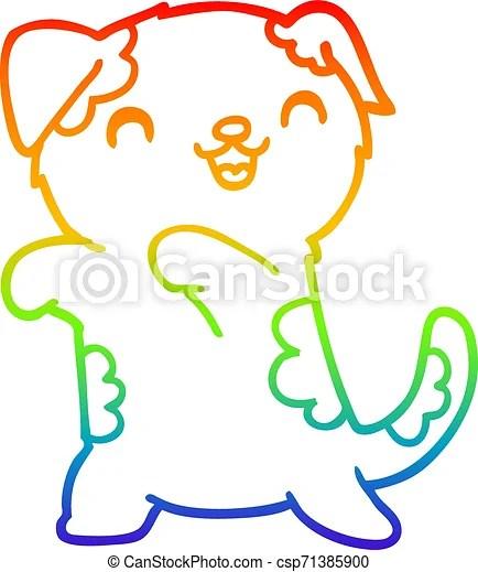 Rainbow Gradient Line Drawing Cute Cartoon Puppy Rainbow Gradient Line Drawing Of A Cute Cartoon Puppy
