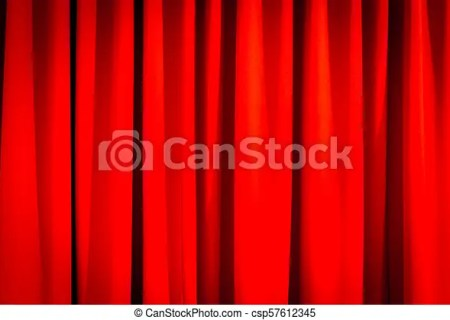 Red Closed Curtain With A Light Spot Csp57612345