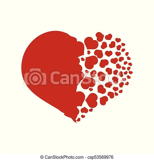 Download Red heart falling into small pieces. Heart shape in red ...