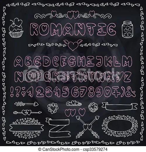 Download Romantic alphabet. heart font. abc letters decor. chalk ...