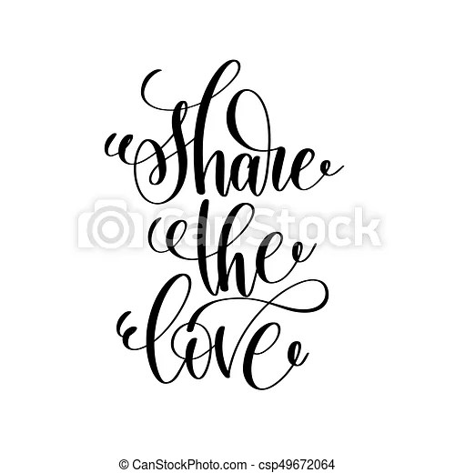 Download Share the love handwritten typographic poster, ink ...