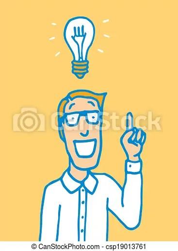 Smart Guy Having An Idea Cartoon Illustration Of A Man In