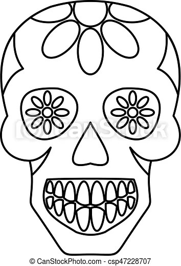 Sugar Skull Flowers On The Skull Icon Outline Sugar Skull Flowers On The Skull Icon In Outline Style Isolated Vector
