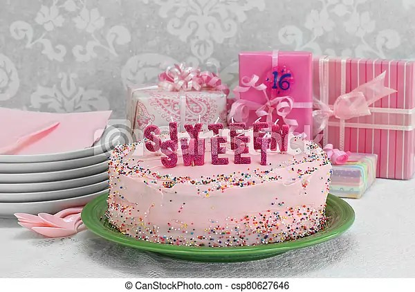 Sweet Sixteen Birthday Cake And Gifts Pretty Pink Sweet Sixteen Birthday Cake With Sweet Sixteen Spelled Out In Candles Canstock
