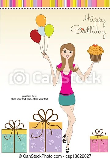 Sweet Sixteen Birthday Card With Young Woman Canstock