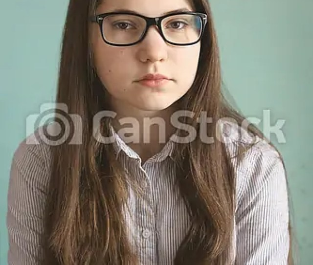 Teen Girl In Glasses With Long Brown Hair Csp46307978