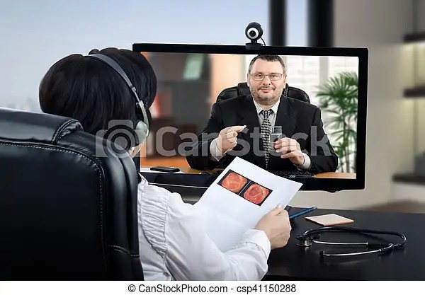 Telehealth proctologist exams colonography. Virtual female doctor sits face to face with patient in black suit in monitor. physician in headset ...