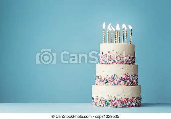 Tiered Birthday Cake With Sprinkles Birthday Cake With Three Tiers And Colorful Sprinkles Canstock