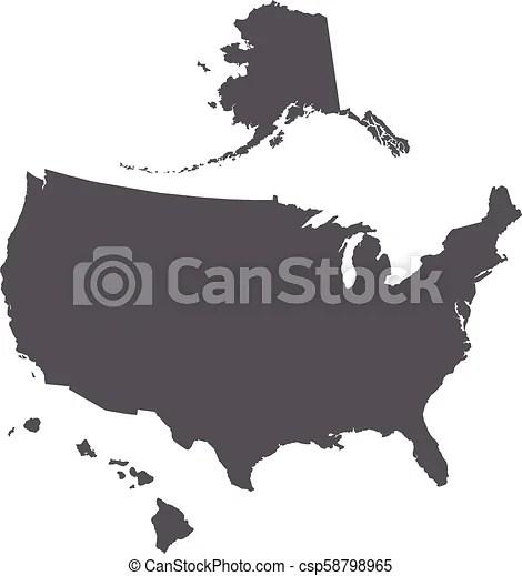 Usa Map Outline With Alaska And Hawaii Islands