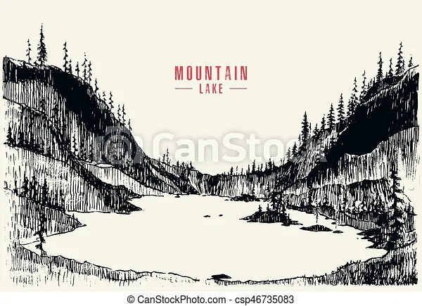 Vector Illustration Mountain Lake Pine Forest Draw Vector