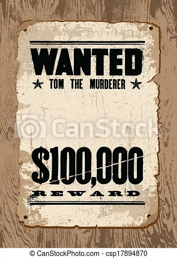 Vector Wanted Poster On Wood EPS Clip Art Csp17894870