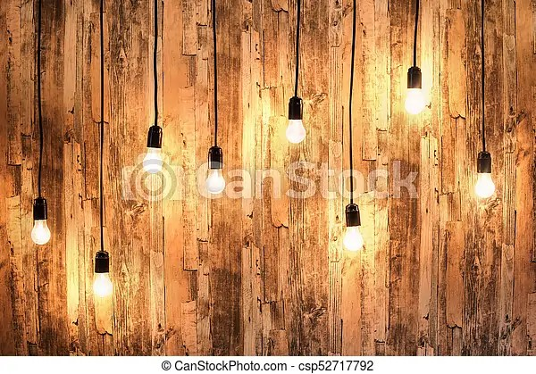 Wooden Background With Lamps Background Wooden Wall With Hanging Burning Lamps