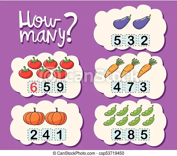 Worksheet Template For Counting How Many Illustration