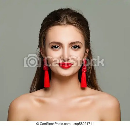 Beautiful Woman With Red Lips Makeup