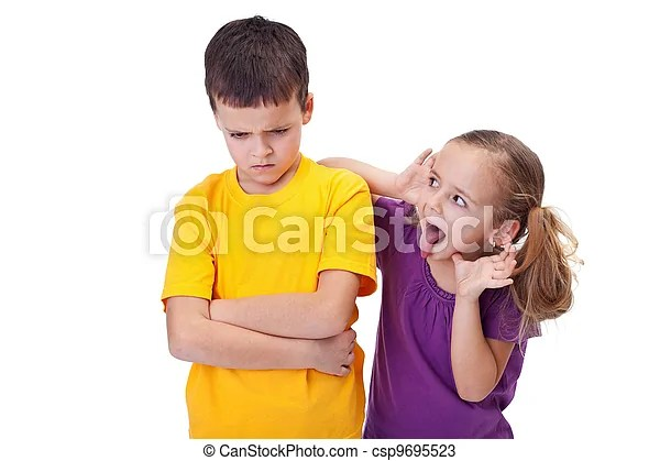 Young girl teasing and mocking a boy - sticking her tongue... stock photos - Search Photographs and Clip Art Photo Images - csp9695523