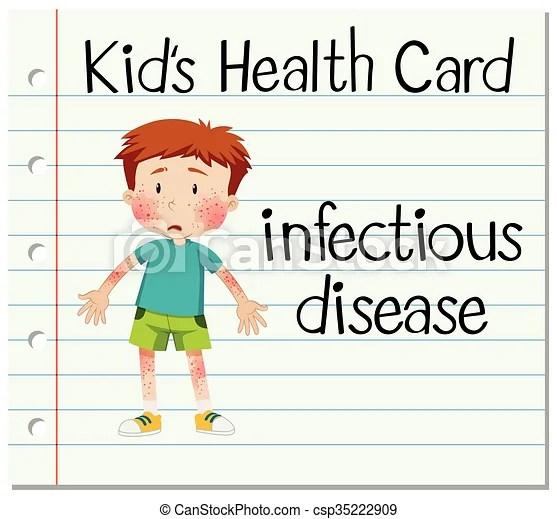 Tarjeta De Salud Con Un Chico Con Una Enfermedad
