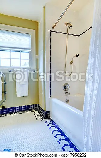 Bleu Plancher Salle Bains Jaune Clair Carreau Blanc Bleu Plancher Salle Bains Simple Lumiere Murs Jaunes Tonalites Canstock