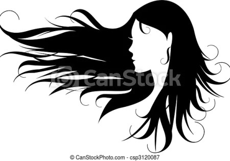 illustrations vectorisées de cheveux noir femme à bouclé noir cheveux csp