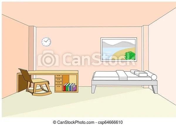 Chambre A Coucher Illustration Vecteur Bureau Interieur 3d Canstock