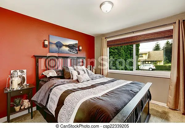 couleur moderne murs chambre a coucher interieur contraste mur moderne lit clair noir chambre a coucher interieur canstock