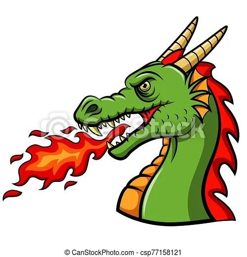 Dragon Souffler Bruler Dessin Anime Tete Dragon Souffler Bruler Dessin Anime Illustration Tete Canstock