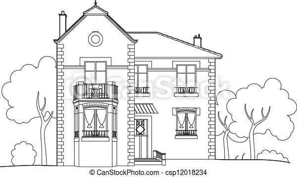 Grand Dessin Maison Maison Style 1930 Canstock