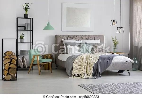 gris vert chambre a coucher decorations