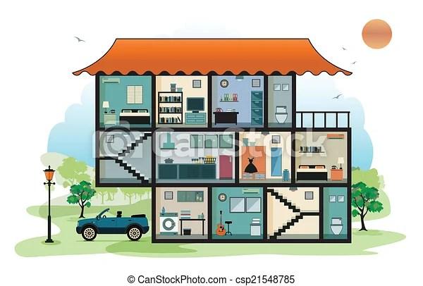 Interieur Maison Interieur Arriere Plan Ciel Maison Canstock
