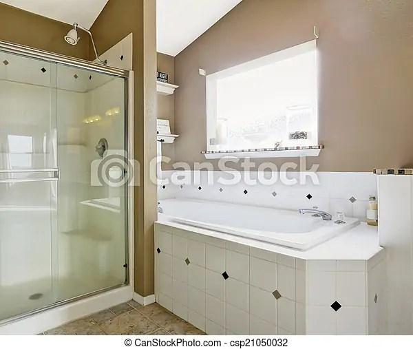 Intrerior Salle Bains Blanc Couleurs Beige Douche Salle Bains Porte Simple Colors Bain Whtie Verre Beige Canstock