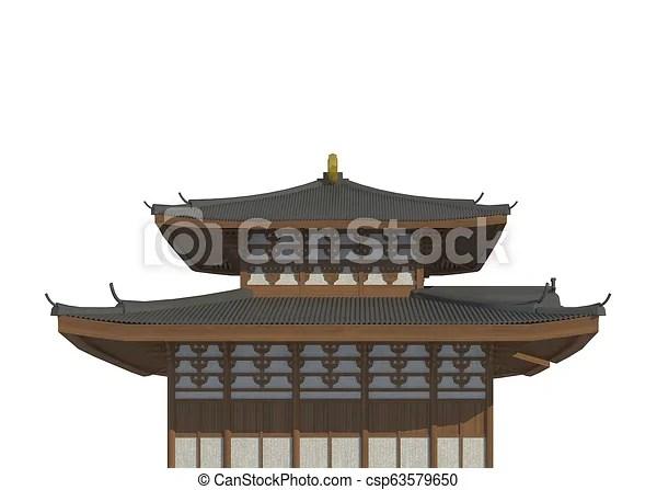 maison japonaise illustration isole fond blanc 3d