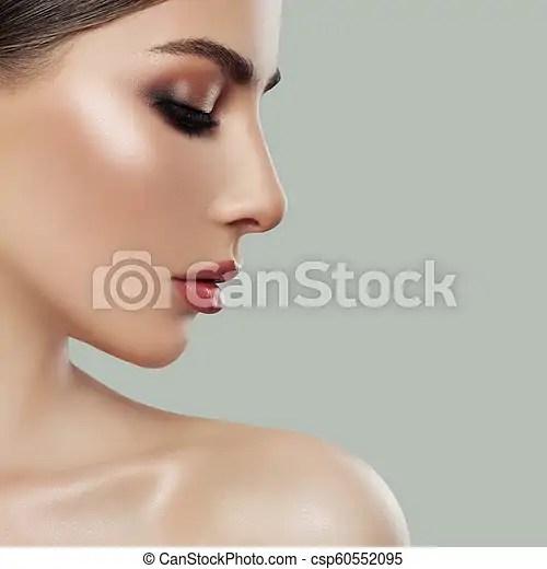 Parfait Profil Visage Femme Jeune Closeup Femme Canstock